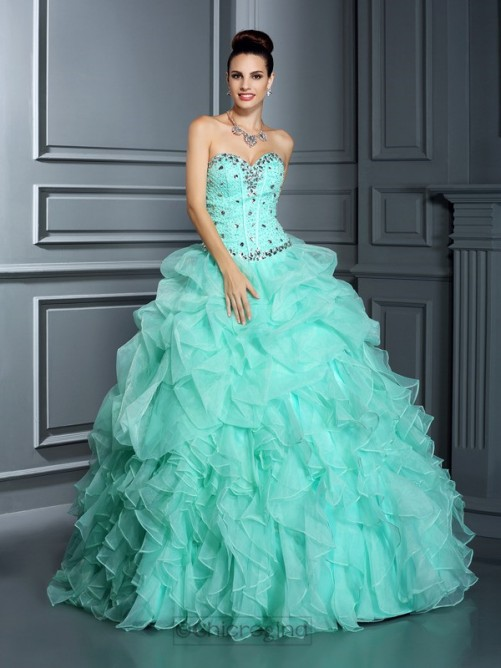 Chicregina Sweetheart Floor-Length Organza Ball Gown Dress with Embroidery