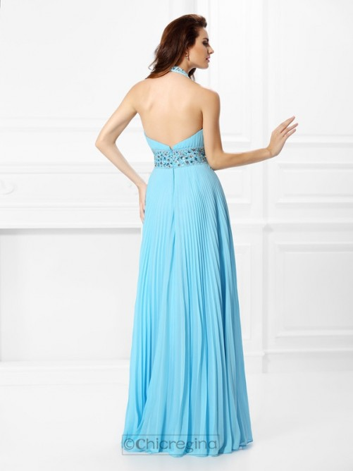 Chicregina Long A-Line/Princess Halter Chiffon Dress with Beading Rhinestone