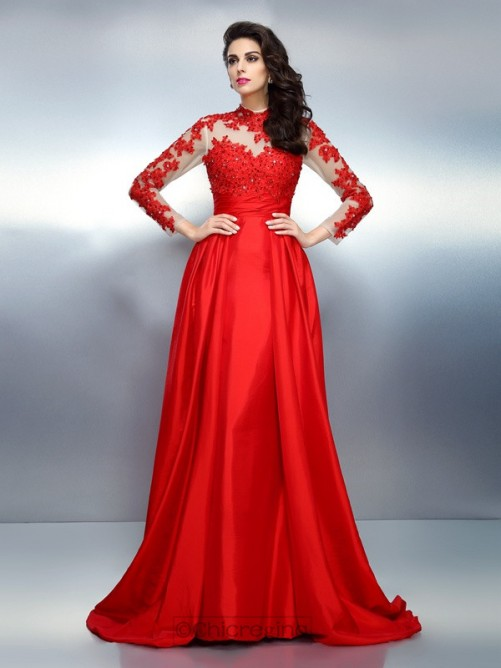 Chicregina A-Line/Princess High Neck Long Sleeves Applique Sweep/Brush Train Satin Dress with Embroidery