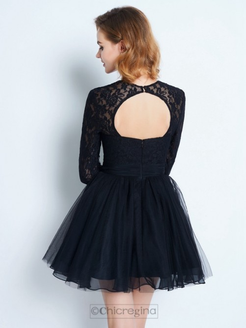 Chicregina A-Line/Princess High Neck Long Sleeves Short Net Dress with Lace