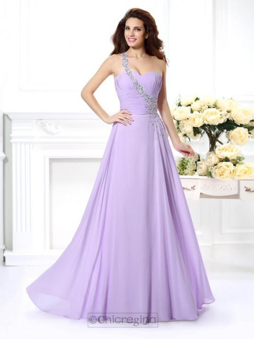 Chicregina A-Line/Princess One-Shoulder Long Chiffon Dress with Lace Beading