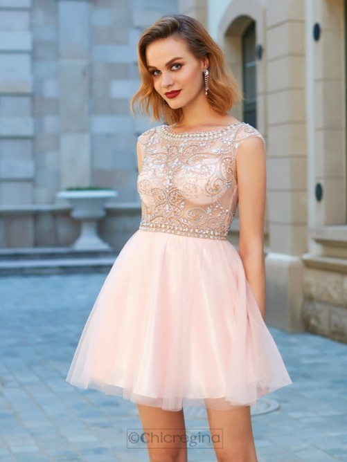 Chicregina A-Line/Princess Scoop Net Short Sleeves Short Dress with Beading