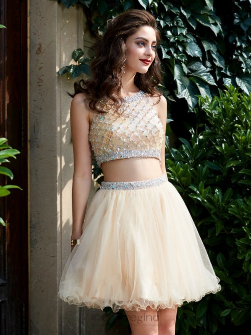 Chicregina A-Line/Princess Scoop Net Sleeveless Short Two Piece Prom Dress with Beading