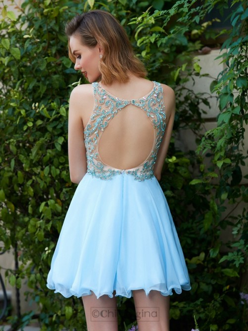 Chicregina A-Line/Princess Scoop Sleeveless Chiffon Short Prom Dress with Beading