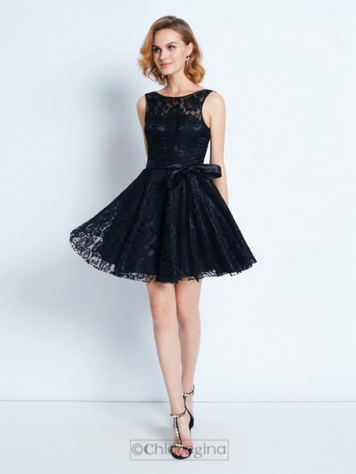 Chicregina A-Line/Princess Scoop Sleeveless Sash/Ribbon/Belt Short Dress with Lace