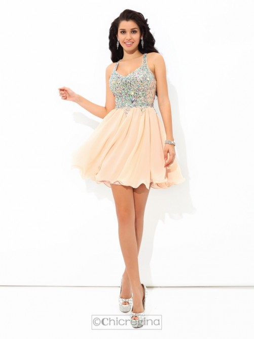 Chicregina A-Line/Princess Straps Mini Chiffon Cocktail Dress with Beading