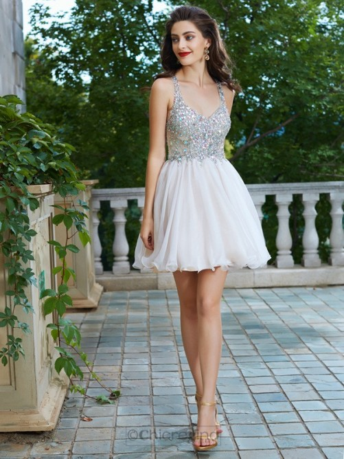 Chicregina A-Line/Princess Straps Sleeveless Short Chiffon Prom Gown with Rhinestone
