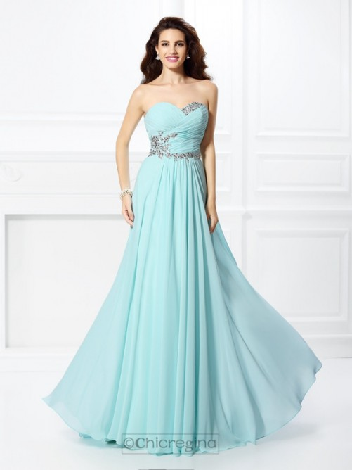 Chicregina A-Line/Princess Sweetheart Long Chiffon Dress with Beading
