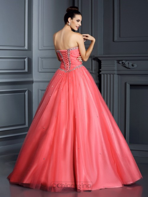 Chicregina Ball Gown Sweetheart Beading Long Net Quinceanera Dress with Rhinestone