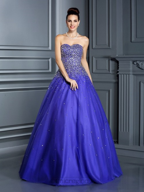 Chicregina Ball Gown Sweetheart Beading Long Net Quinceanera Dress with Sash