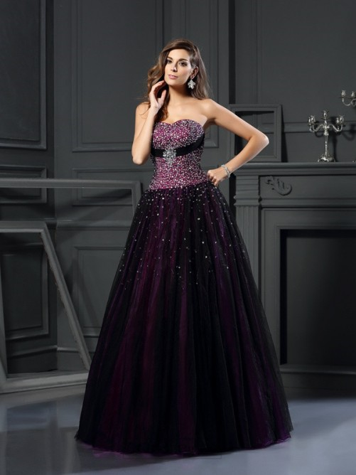 Chicregina Ball Gown Sweetheart Beading Long Satin Dress with Applique