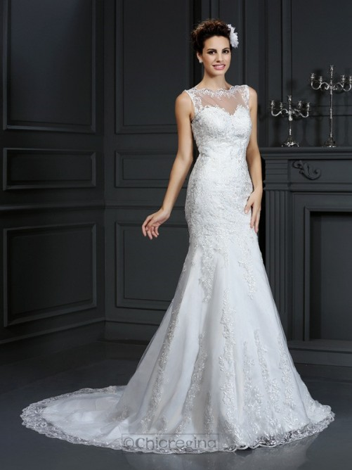 Chicregina Sheath/Column Bateau Court Train Lace Satin Wedding Dress with Pleats
