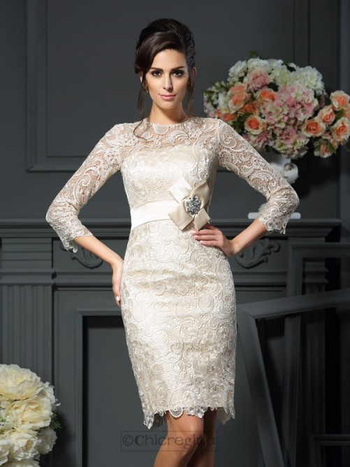 Chicregina Sheath/Column Scoop Bowknot 3/4 Sleeves Short/Mini Lace Mother Of The Bride Dress with Beading