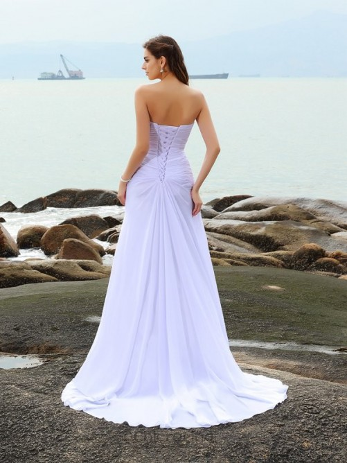 Chicregina Sheath/Column Sweetheart Chiffon Chapel Train Wedding Gown with Beading