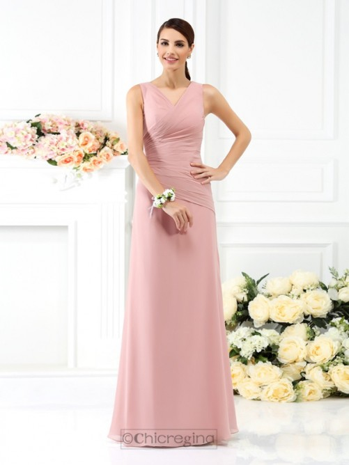 Chicregina Sheath/Column V-neck Long Chiffon Bridesmaid Dress with Beading Pleats