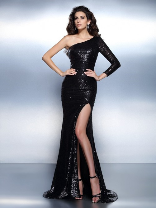 Chicregina Trumpet/Mermaid One-Shoulder Long Sleeves Sweep/Brush Train Lace Dress with Applique Paillette