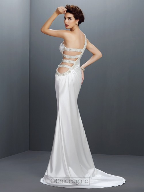 Chicregina Trumpet/Mermaid One-Shoulder Sweep/Brush Train Elastic Woven Satin Dress with Beading