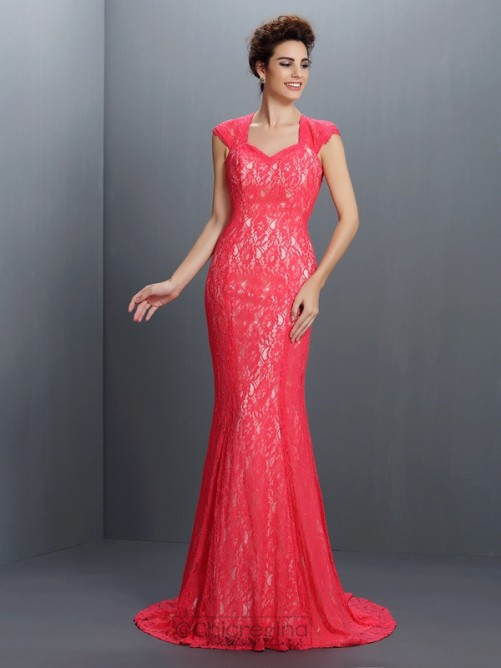 Chicregina Trumpet/Mermaid V-neck Lace Sweep/Brush Train Lace Dress with Ruched