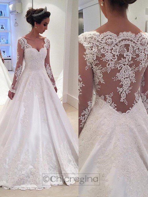 Ball Gown V-neck Long Sleeves Court Train Satin Wedding Dress With Lace