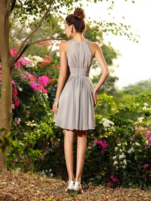 Chicregina A-Line/Princess Chiffon Knee-Length Scoop Bridesmaid Dress With Beading Hand-Made Flower