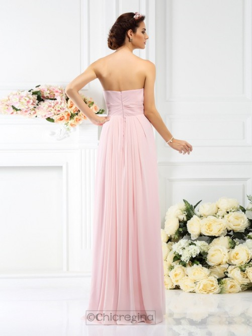 Chicregina A-Line/Princess Strapless Floor-Length Chiffon Bridesmaid Dress With Ruched Flower