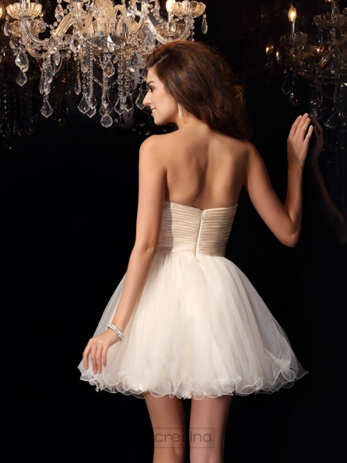 Chicregina A-Line/Princess Sweetheart Chiffon Beading Short/Mini Dress With Rhinestone
