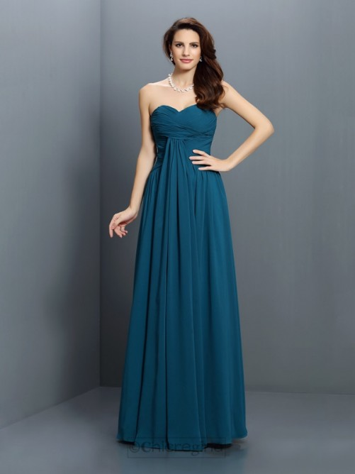 Chicregina A-Line/Princess Sweetheart Floor-Length Satin Bridesmaid Dress With Applique Pleats