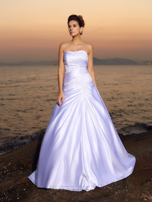 Chicregina Ball Gown Strapless Satin Court Train Wedding Dress with Ruffles Applique