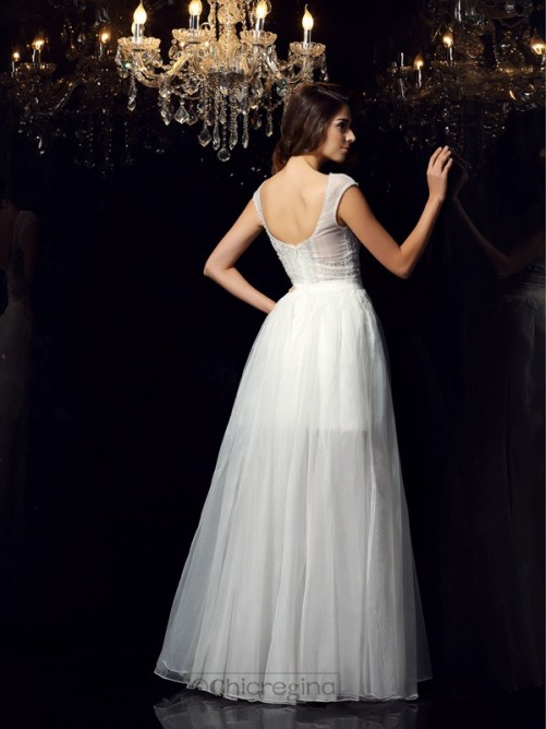Chicregina Floor-Length A-Line/Princess Short Sleeves Scoop Tulle Dress with Pleats