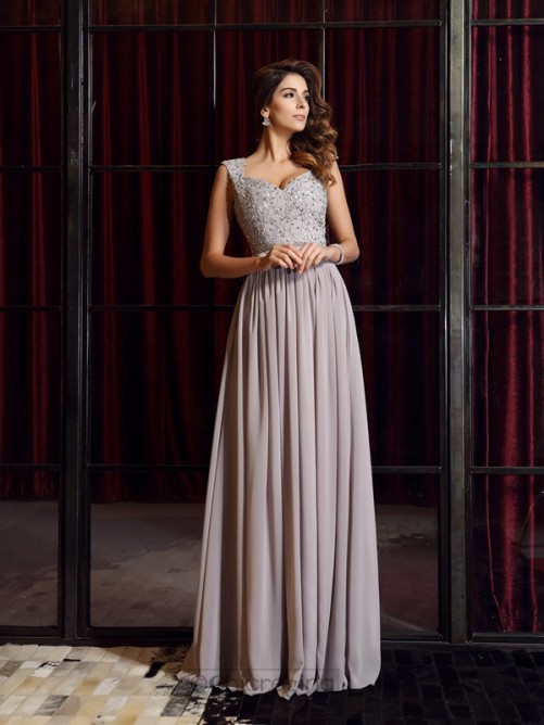 Chicregina Floor-Length A-Line/Princess Straps Chiffon Applique Formal Dress with Lace
