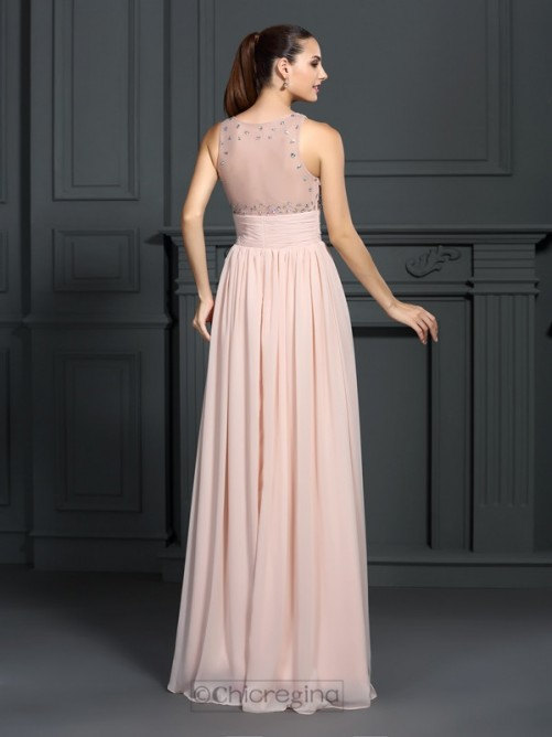 Chicregina Long A-Line/Princess Bateau Chiffon Dress With Ruched