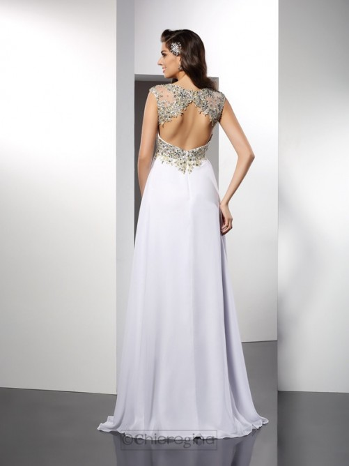 Chicregina Long A-Line/Princess Bateau Chiffon Dress With Sash