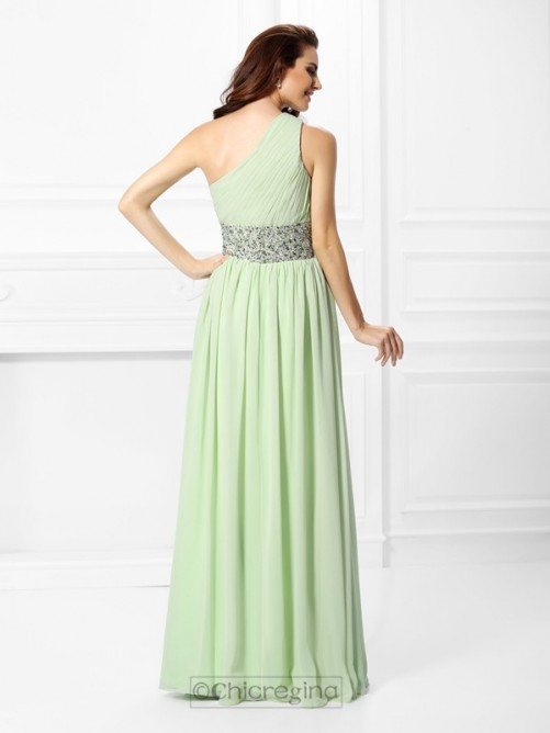 Chicregina Long A-Line/Princess One-Shoulder Chiffon Dress with Pleats Beading