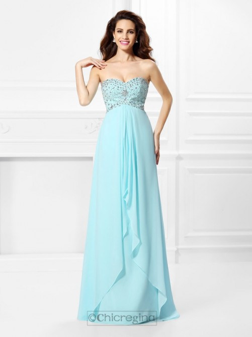 Chicregina Long A-Line/Princess Sweetheart Beading Chiffon Dress With Ruched