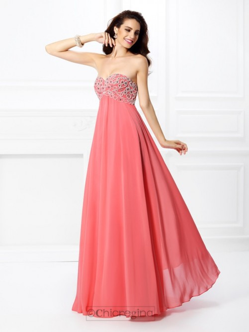 Chicregina Long A-Line/Princess Sweetheart Chiffon Dress With Ruched
