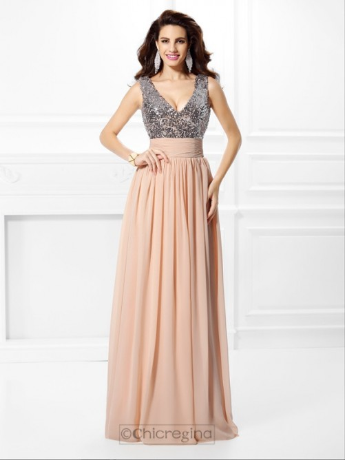 Chicregina Long A-Line/Princess V-neck Paillette Chiffon Dress With Applique