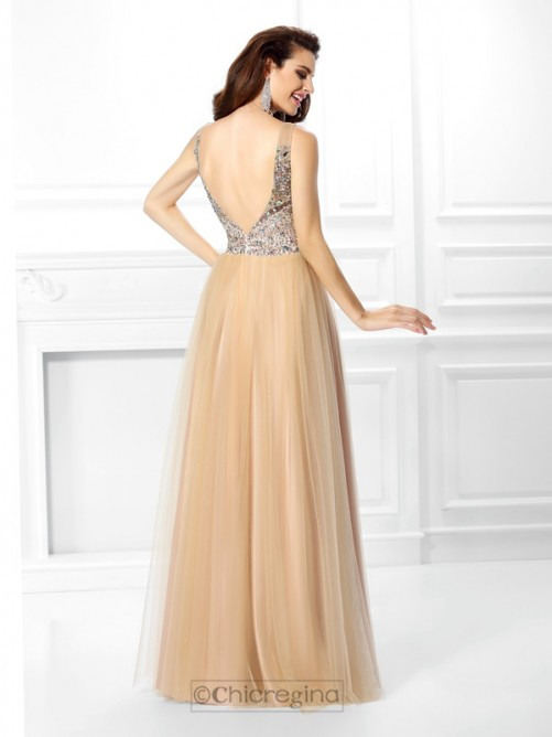 Chicregina Long Ball Gown V-neck Sequin Satin Dress With Embroidery