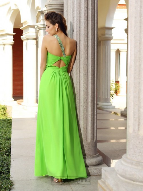 Chicregina Long Sheath/Column One-Shoulder Chiffon Prom Dress With Beading