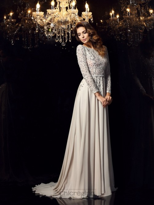 Chicregina A-Line/Princess Long Sleeves Scoop Chiffon Court Train Dress with Applique Beading