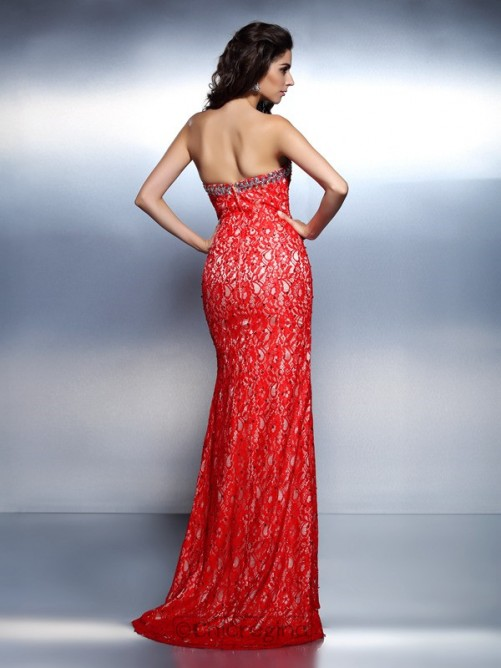 Chicregina Long Trumpet/Mermaid Sweetheart Lace Dress With Beading