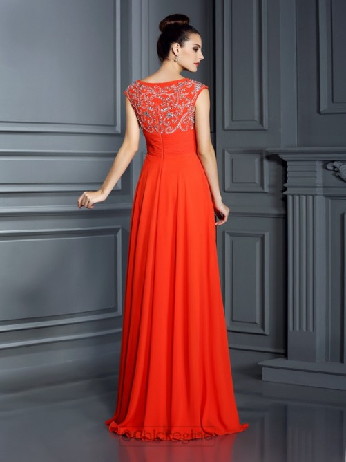 Chicregina Long A-Line/Princess Bateau Chiffon Dress with Beading