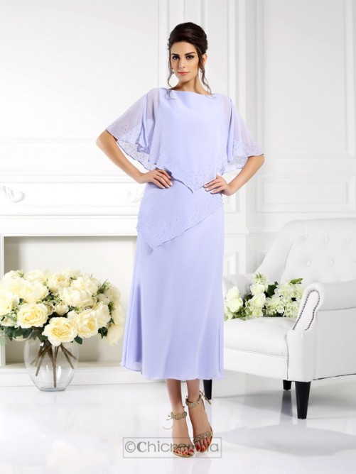 Chicregina Sheath Bateau 1/2 Sleeves Ankle-Length Chiffon Mother Of The Bride Dress With Ruffles
