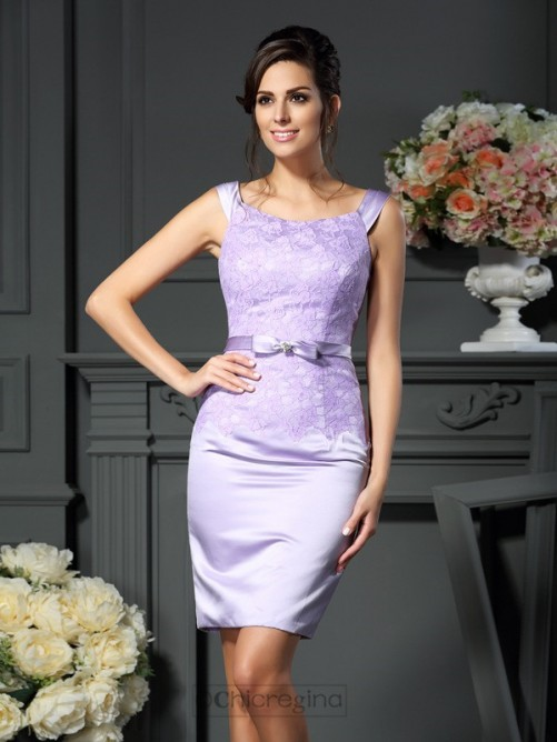 Chicregina Sheath/Column Scoop Bowknot Short Satin Mother Of The Bride Dress With Lace