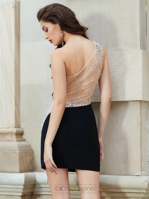 Chicregina Sheath/Column Sleeveless One-Shoulder Sleeveless Short Net Dress with Beading