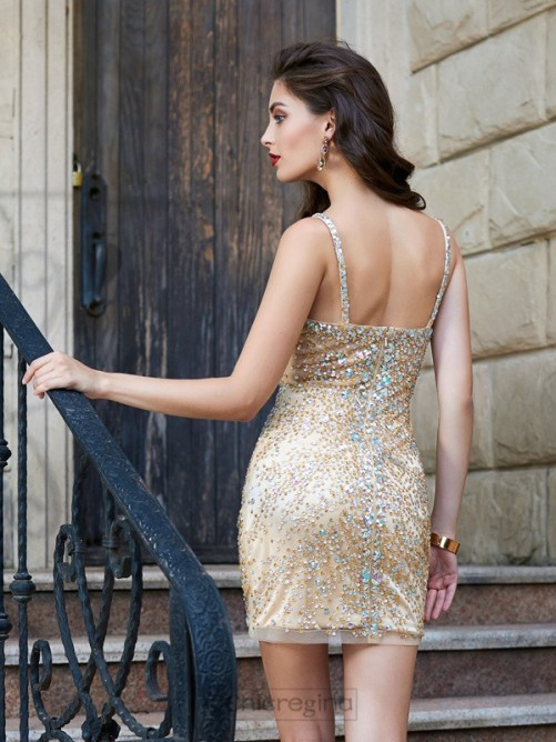 Chicregina Sheath/Column Spaghetti Straps Net Sleeveless Short Dress with Sequin
