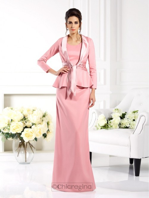 Chicregina Long Sheath/Column Square Elastic Woven Satin Mother Of The Bride Dress With Jacket