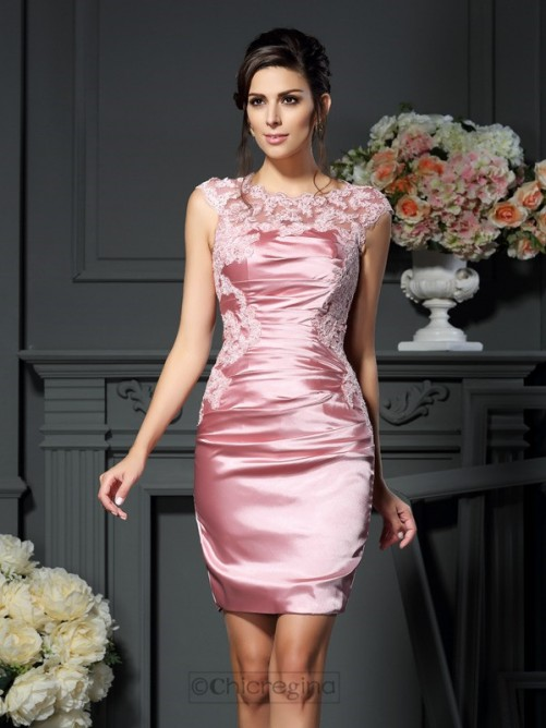 Chicregina Sheath Scoop Applique Elastic Woven Satin Short Mother of the Bride Dress With Jacket