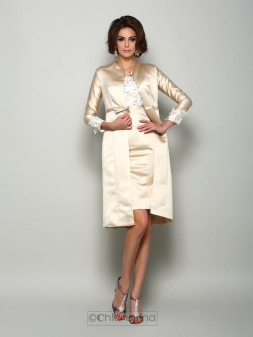 Chicregina Sheath Short Sleeves Knee-Length Applique Mother of the Bride Dress with Jacket