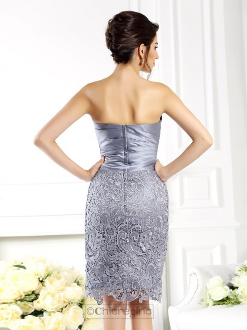 Chicregina Sheath Sweetheart Lace Knee-Length Satin Mother Of The Bride Dress With Applique