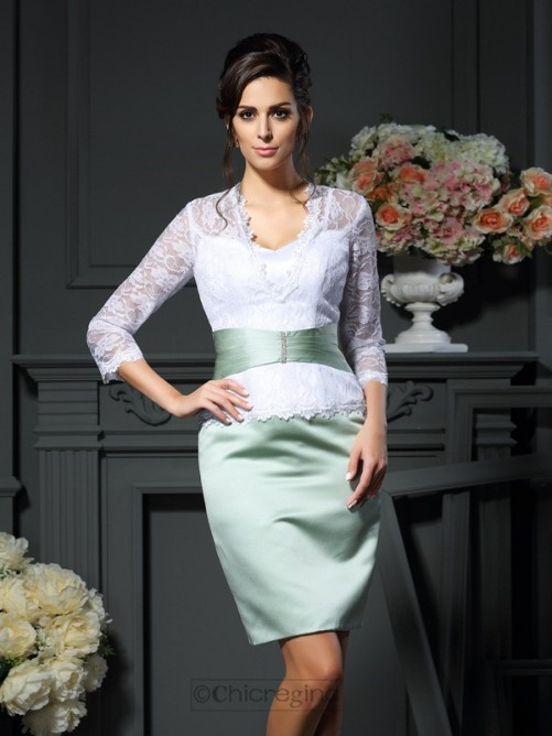 Chicregina Sheath V-neck 1/2 Sleeves Short Lace Satin Mother Of The Bride Dress with Ruched